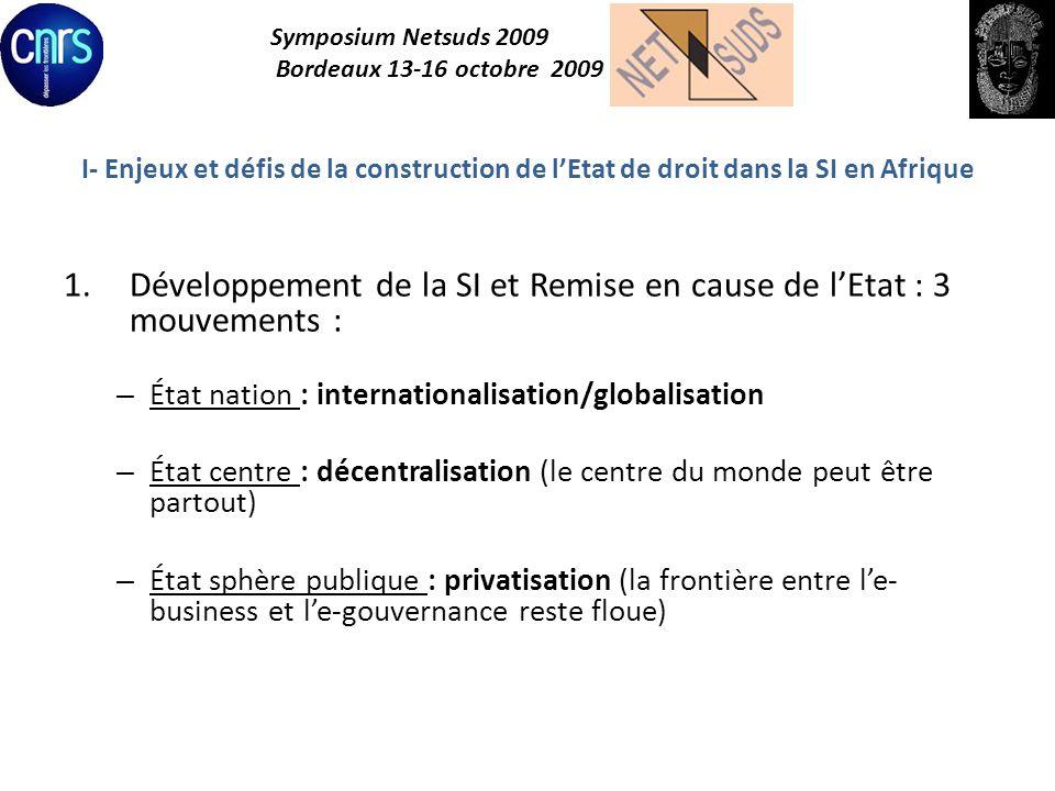 Symposium Netsuds 2009 Bordeaux 13-16 octobre 2009 I- Enjeux et défis de la construction de lEtat de droit dans la SI en Afrique 2.Paradoxes et tensions : opportunités de promotion et menaces réelles – Droits et libertés : cybersurveillance, censure/ liberté dinformation et dexpression – Gouvernance : participative ou exclusion (fracture numérique) – Protection des valeurs : marchandes et non marchandes (données, cybercriminalité)