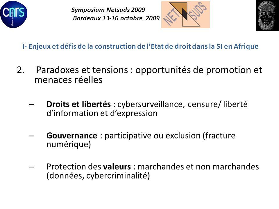 Symposium Netsuds 2009 Bordeaux 13-16 octobre 2009 I- Enjeux et défis de la construction de lEtat de droit dans la SI en Afrique 2.Paradoxes et tensio