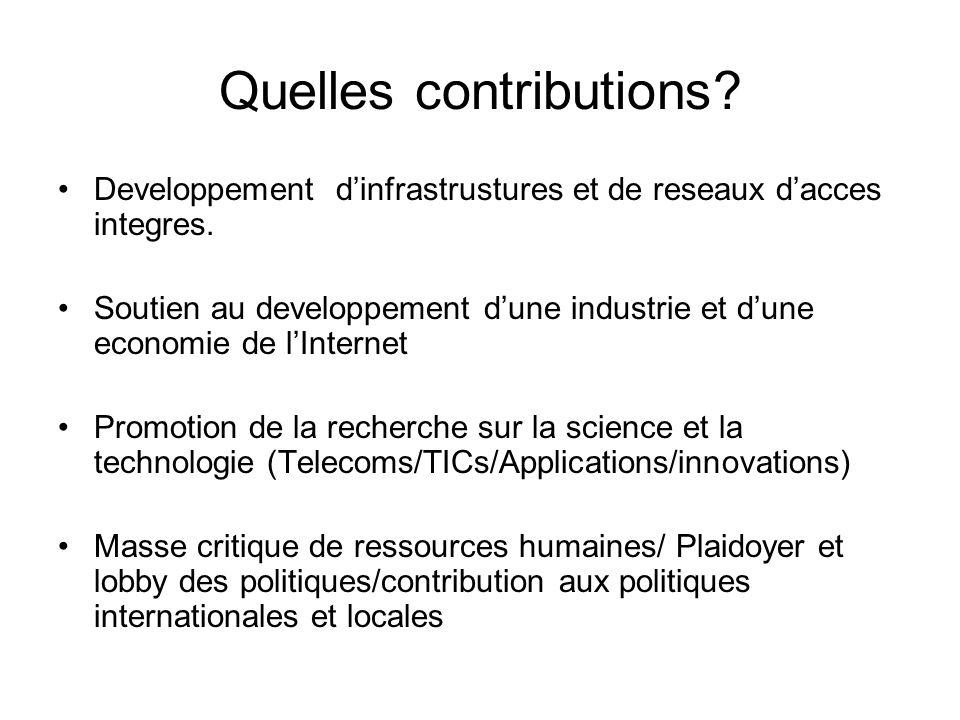 Quelles contributions. Developpement dinfrastrustures et de reseaux dacces integres.