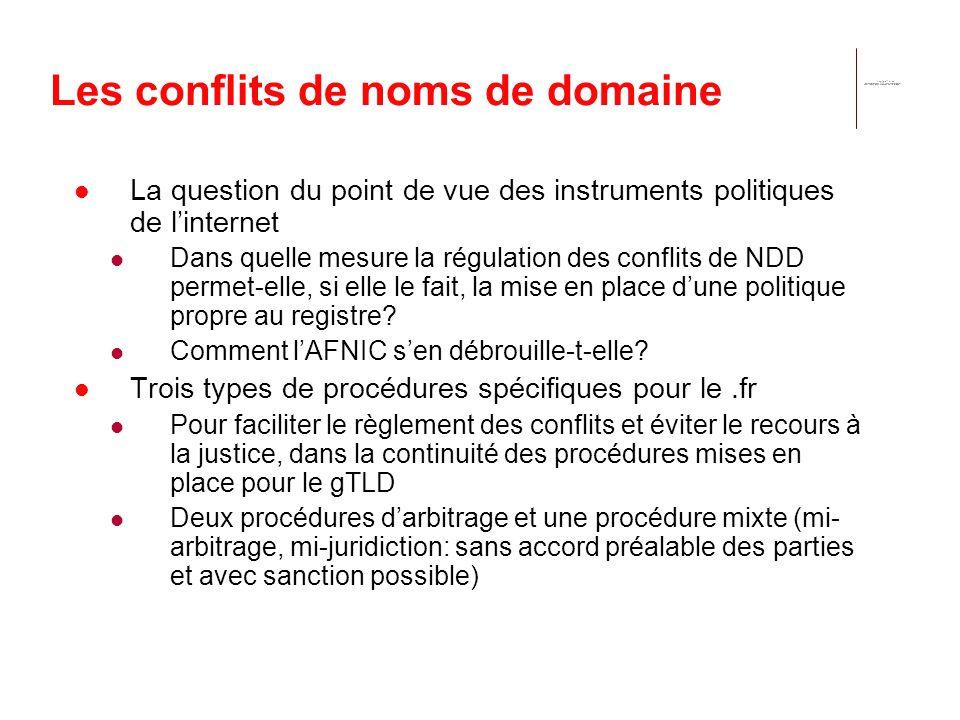 Les conflits de noms de domaine La question du point de vue des instruments politiques de linternet Dans quelle mesure la régulation des conflits de NDD permet-elle, si elle le fait, la mise en place dune politique propre au registre.