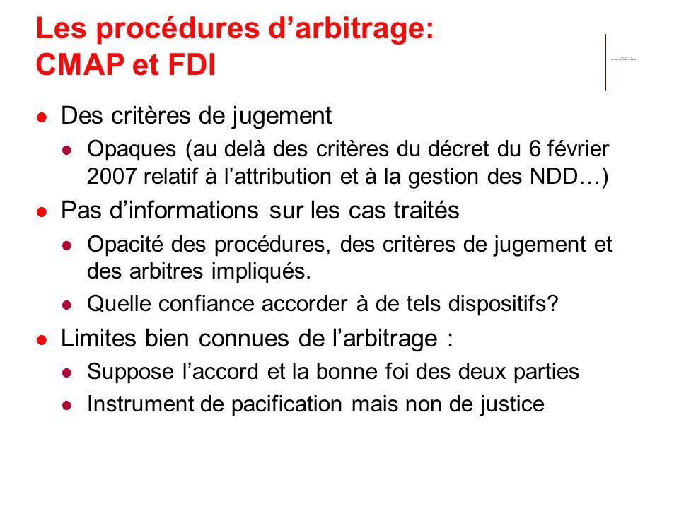 Les procédures darbitrage: CMAP et FDI Des critères de jugement Opaques (au delà des critères du décret du 6 février 2007 relatif à lattribution et à la gestion des NDD…) Pas dinformations sur les cas traités Opacité des procédures, des critères de jugement et des arbitres impliqués.