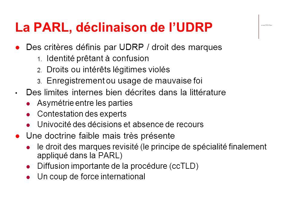 La PARL, déclinaison de lUDRP Des critères définis par UDRP / droit des marques 1. Identité prêtant à confusion 2. Droits ou intérêts légitimes violés