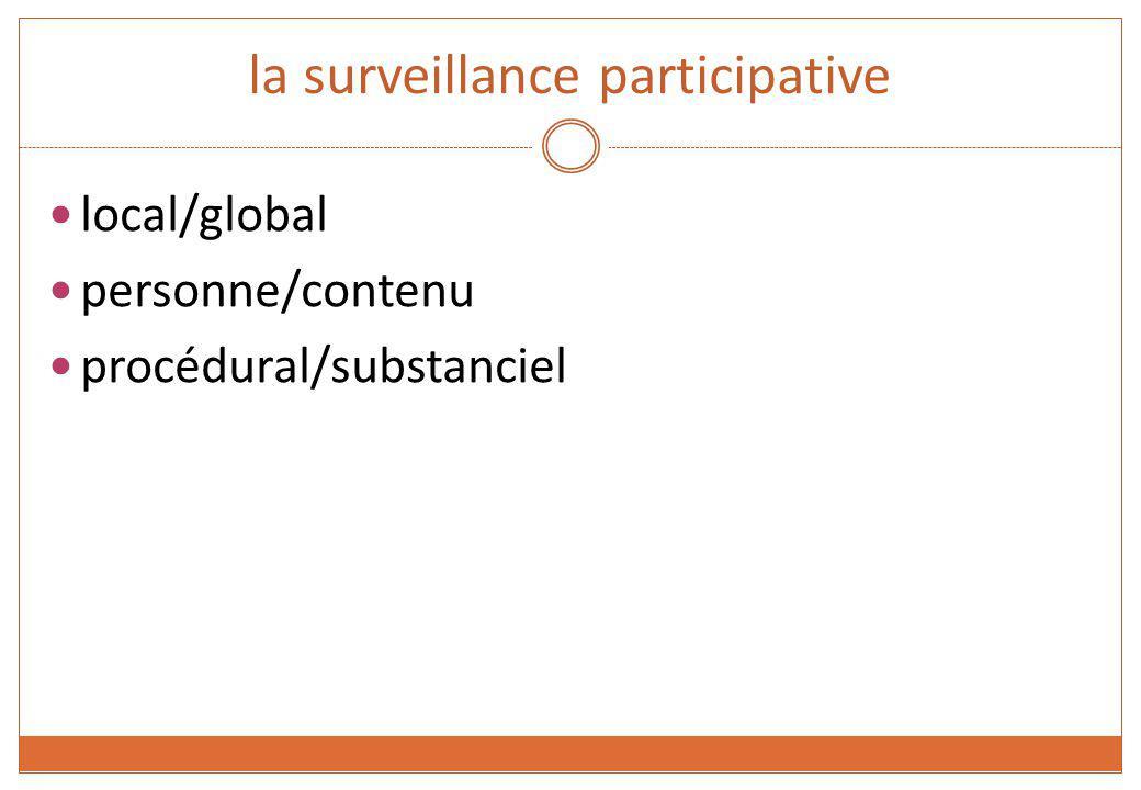 la surveillance participative local/global personne/contenu procédural/substanciel