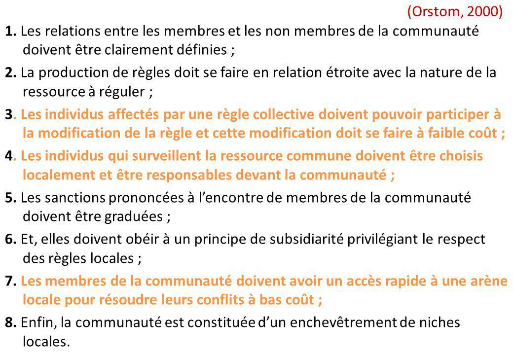 (Orstom, 2000) 1. Les relations entre les membres et les non membres de la communauté doivent être clairement définies ; 2. La production de règles do