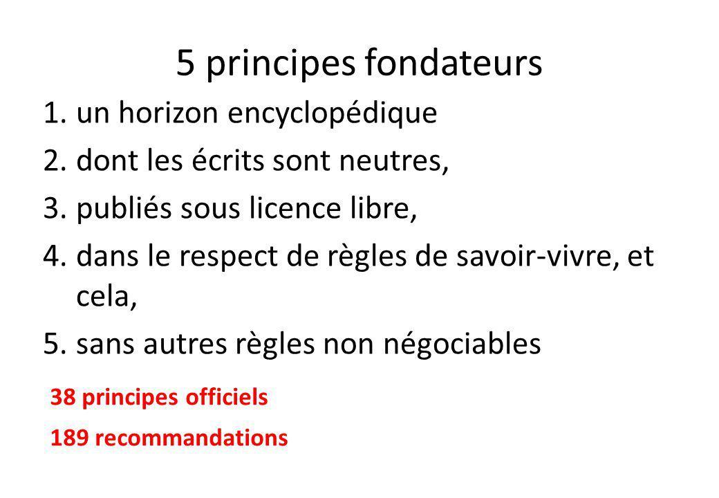 5 principes fondateurs 1.un horizon encyclopédique 2.dont les écrits sont neutres, 3.publiés sous licence libre, 4.dans le respect de règles de savoir