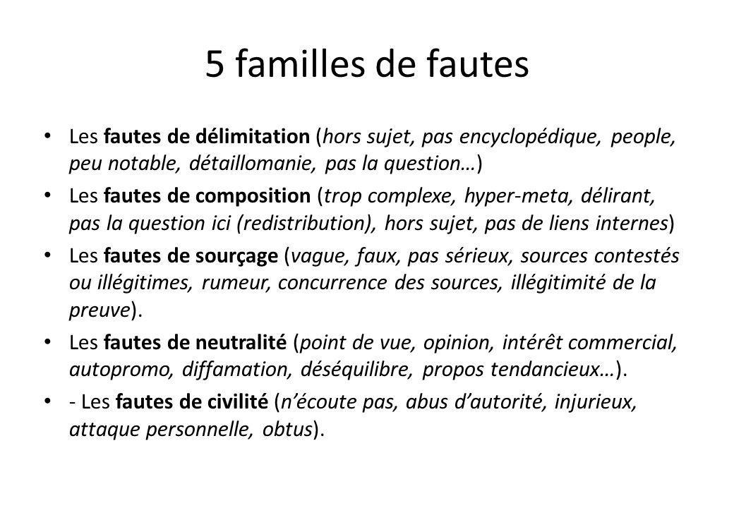 5 familles de fautes Les fautes de délimitation (hors sujet, pas encyclopédique, people, peu notable, détaillomanie, pas la question…) Les fautes de c