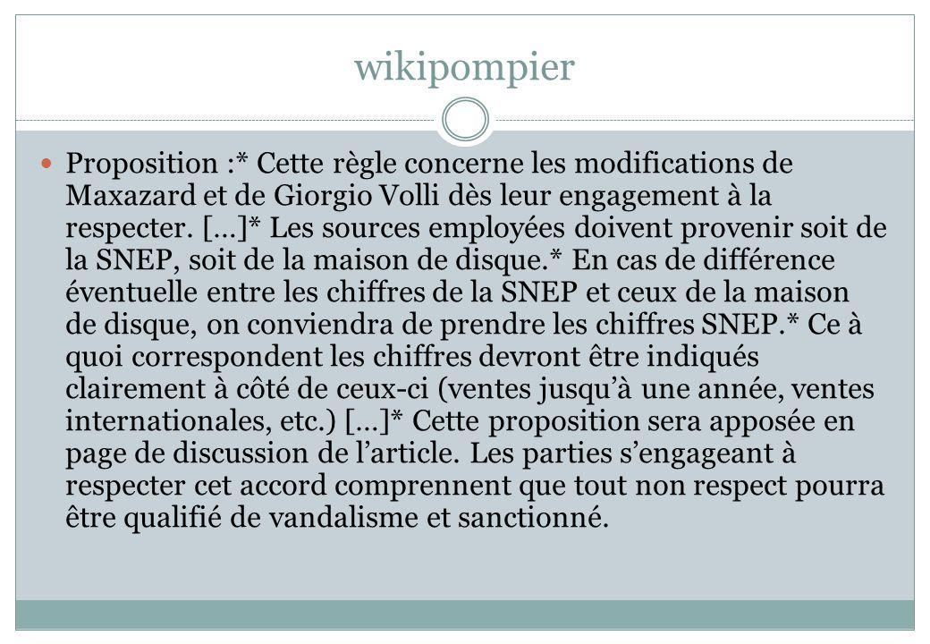 wikipompier Proposition :* Cette règle concerne les modifications de Maxazard et de Giorgio Volli dès leur engagement à la respecter. […]* Les sources