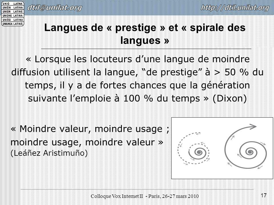 Colloque Vox Internet II - Paris, 26-27 mars 2010 17 Langues de « prestige » et « spirale des langues » « Lorsque les locuteurs dune langue de moindre
