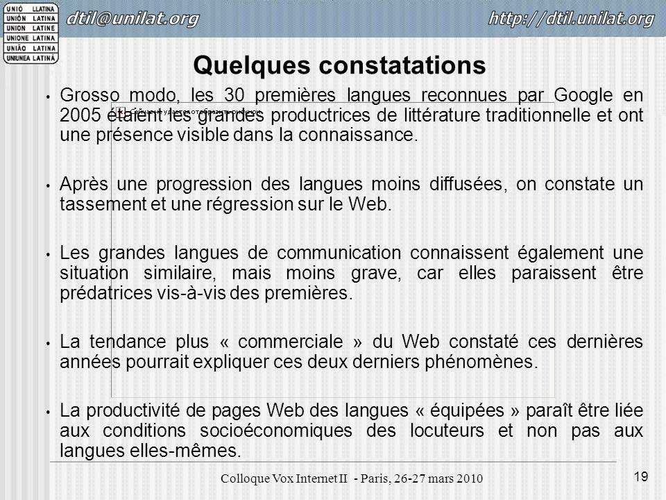 Colloque Vox Internet II - Paris, 26-27 mars 2010 19 Grosso modo, les 30 premières langues reconnues par Google en 2005 étaient les grandes productrices de littérature traditionnelle et ont une présence visible dans la connaissance.
