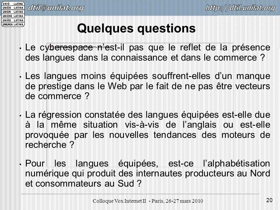 Colloque Vox Internet II - Paris, 26-27 mars 2010 20 Le cyberespace nest-il pas que le reflet de la présence des langues dans la connaissance et dans