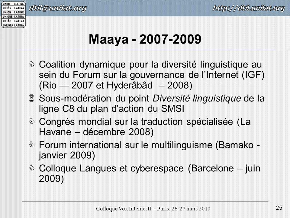 Colloque Vox Internet II - Paris, 26-27 mars 2010 25 Maaya - 2007-2009 Coalition dynamique pour la diversité linguistique au sein du Forum sur la gouvernance de lInternet (IGF) (Rio 2007 et Hyderâbâd – 2008) Sous-modération du point Diversité linguistique de la ligne C8 du plan daction du SMSI Congrès mondial sur la traduction spécialisée (La Havane – décembre 2008) Forum international sur le multilinguisme (Bamako - janvier 2009) Colloque Langues et cyberespace (Barcelone – juin 2009)