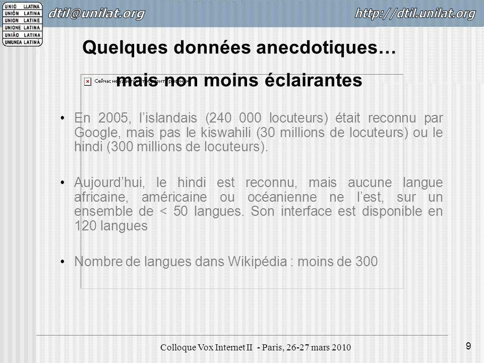 Colloque Vox Internet II - Paris, 26-27 mars 2010 20 Le cyberespace nest-il pas que le reflet de la présence des langues dans la connaissance et dans le commerce .