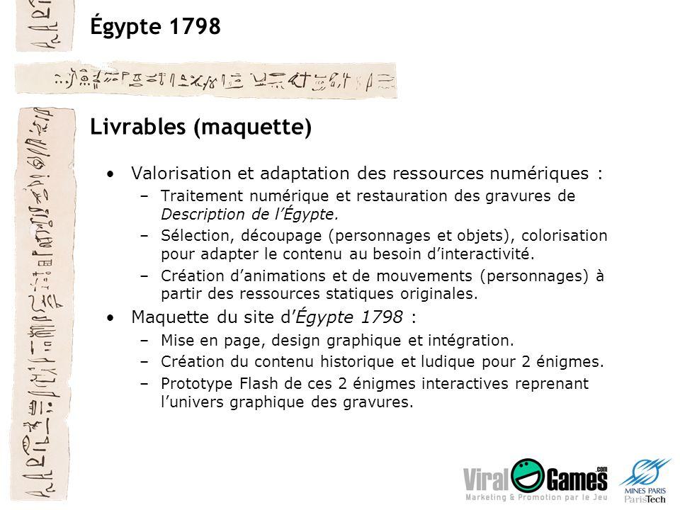 Égypte 1798 Livrables (maquette) Valorisation et adaptation des ressources numériques : –Traitement numérique et restauration des gravures de Description de lÉgypte.