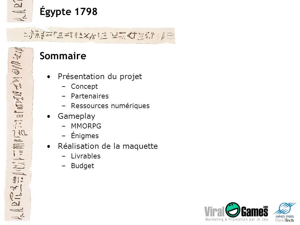 Égypte 1798 Sommaire Présentation du projet –Concept –Partenaires –Ressources numériques Gameplay –MMORPG –Énigmes Réalisation de la maquette –Livrables –Budget