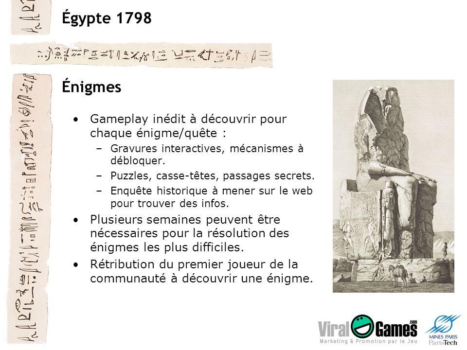 Égypte 1798 Énigmes Gameplay inédit à découvrir pour chaque énigme/quête : –Gravures interactives, mécanismes à débloquer.