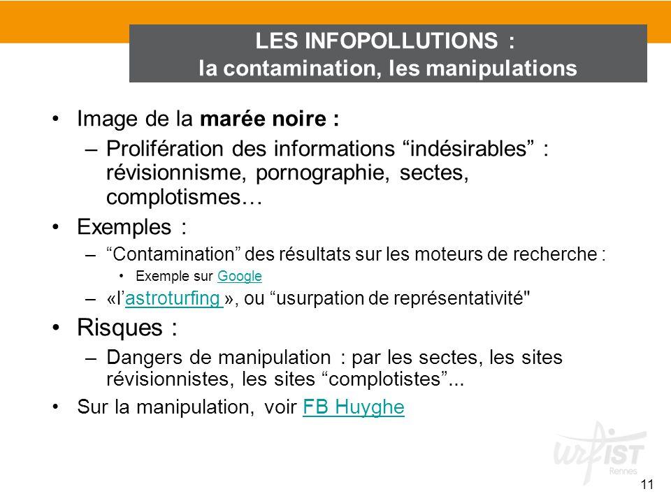 Image de la marée noire : –Prolifération des informations indésirables : révisionnisme, pornographie, sectes, complotismes… Exemples : –Contamination