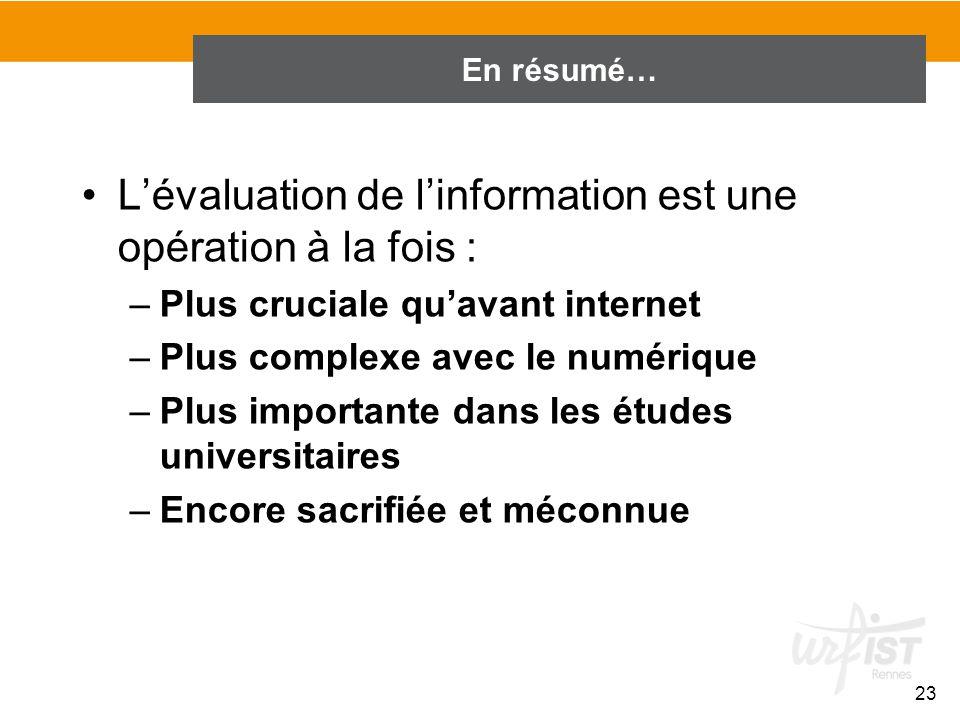 En conclusion de lintroduction… Lévaluation de linformation est une opération à la fois : –Plus cruciale quavant internet –Plus complexe avec le numér