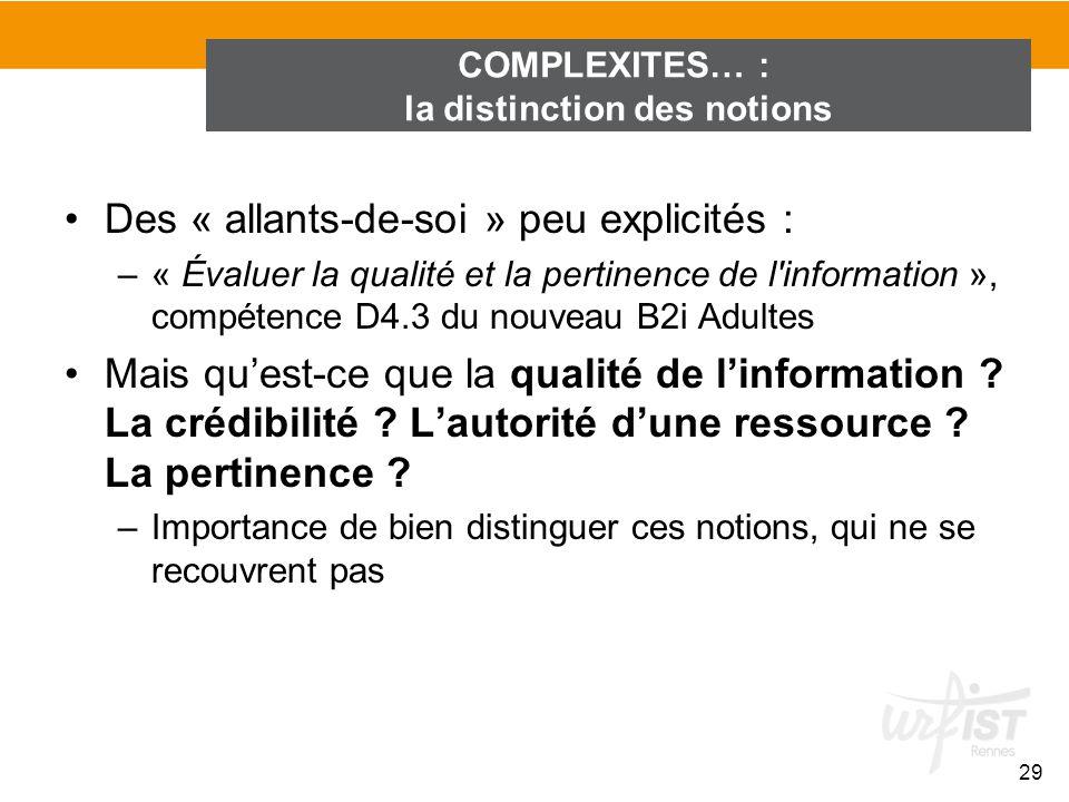 Des « allants-de-soi » peu explicités : –« Évaluer la qualité et la pertinence de l'information », compétence D4.3 du nouveau B2i Adultes Mais quest-c
