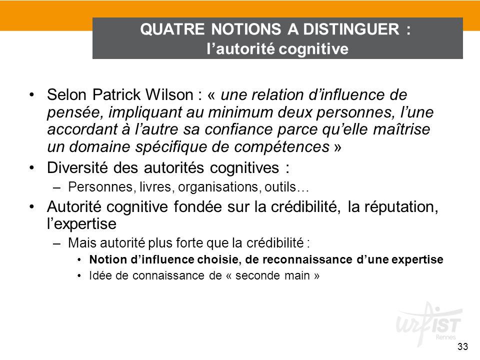 Selon Patrick Wilson : « une relation dinfluence de pensée, impliquant au minimum deux personnes, lune accordant à lautre sa confiance parce quelle ma
