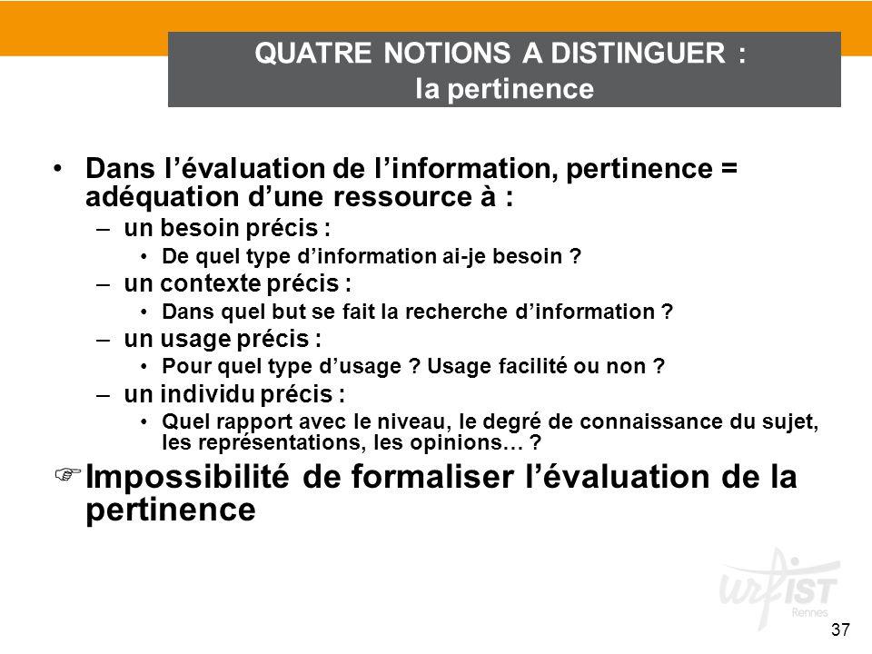 Dans lévaluation de linformation, pertinence = adéquation dune ressource à : –un besoin précis : De quel type dinformation ai-je besoin ? –un contexte