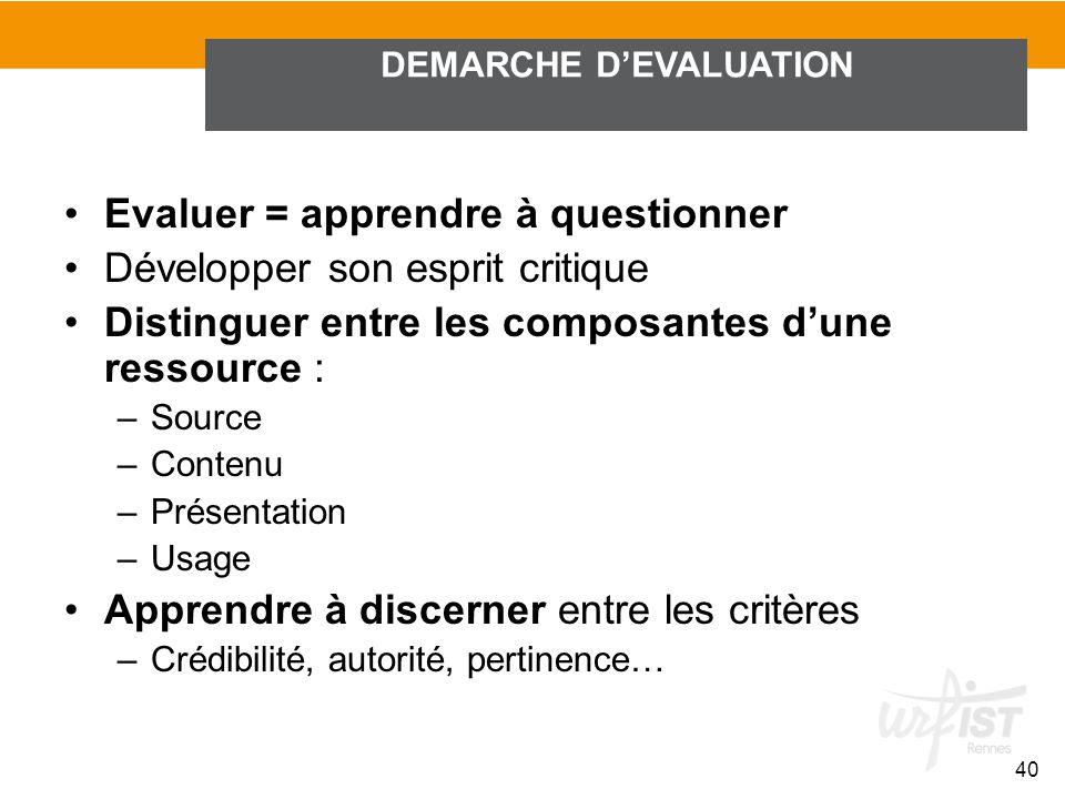 Evaluer = apprendre à questionner Développer son esprit critique Distinguer entre les composantes dune ressource : –Source –Contenu –Présentation –Usa