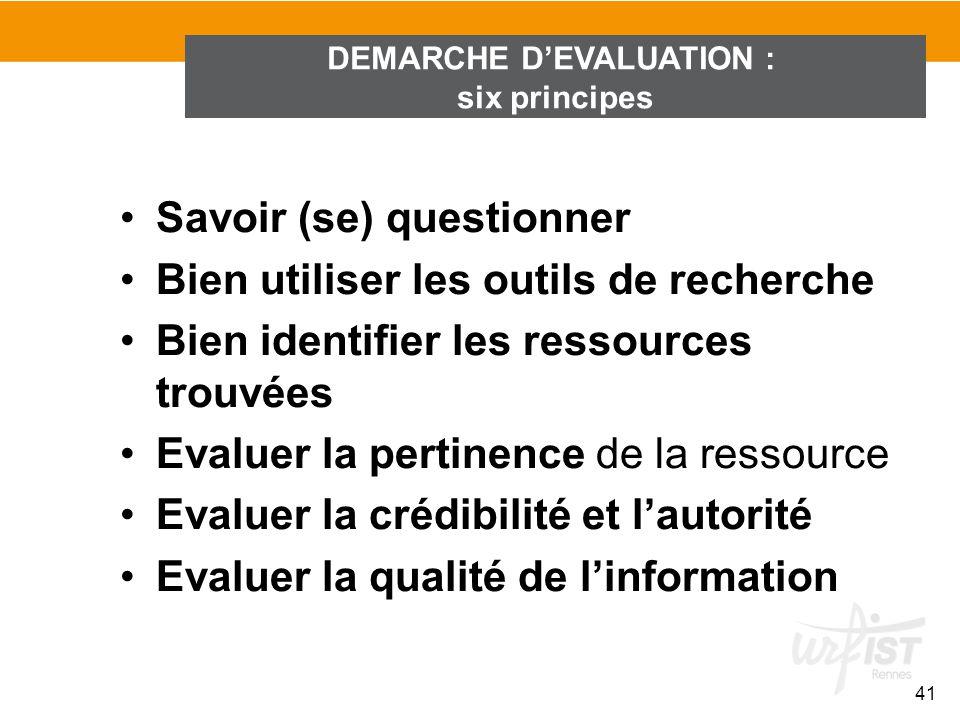 DEMARCHE DEVALUATION : six principes 41 Savoir (se) questionner Bien utiliser les outils de recherche Bien identifier les ressources trouvées Evaluer