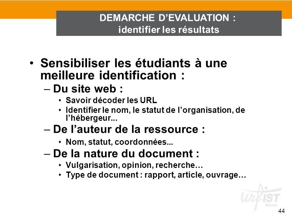 DEMARCHE DEVALUATION : identifier les résultats 44 Sensibiliser les étudiants à une meilleure identification : –Du site web : Savoir décoder les URL I
