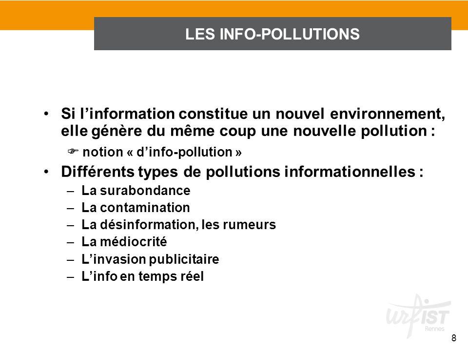 LES INFO-POLLUTIONS 8 Si linformation constitue un nouvel environnement, elle génère du même coup une nouvelle pollution : notion « dinfo-pollution »