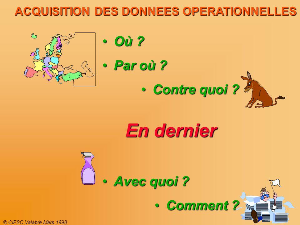 © CIFSC Valabre Mars 1998 ACQUISITION DES DONNEES OPERATIONNELLES Où ?Où .
