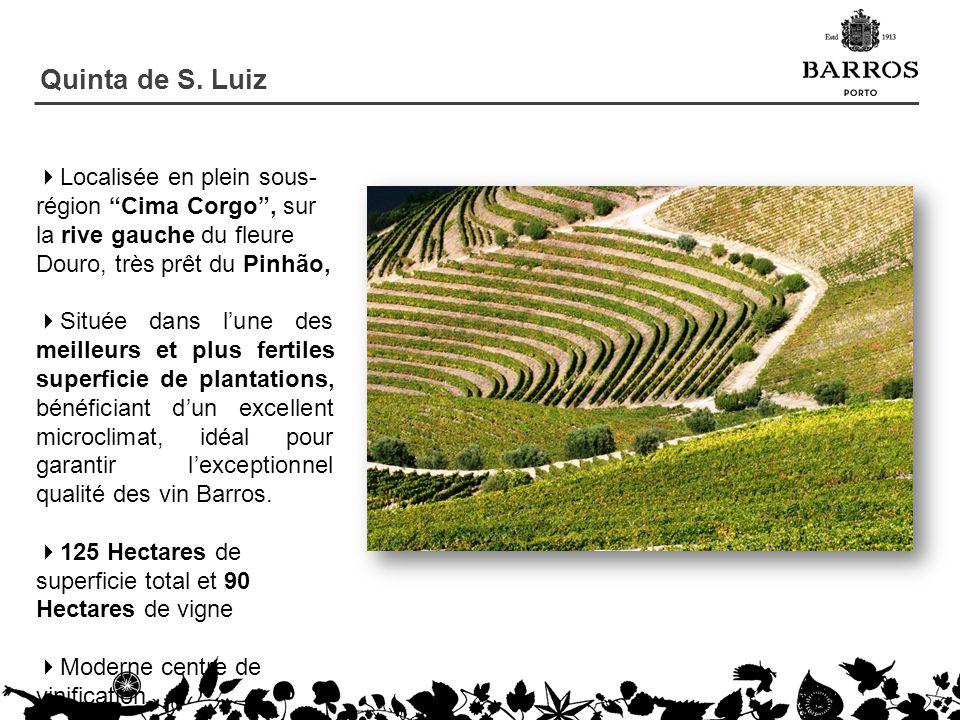 Quinta de S. Luiz Localisée en plein sous- région Cima Corgo, sur la rive gauche du fleure Douro, très prêt du Pinhão, Située dans lune des meilleurs