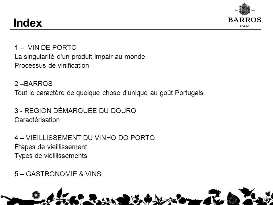 Index 1 – VIN DE PORTO La singularité dun produit impair au monde Processus de vinification 2 –BARROS Tout le caractère de quelque chose dunique au go