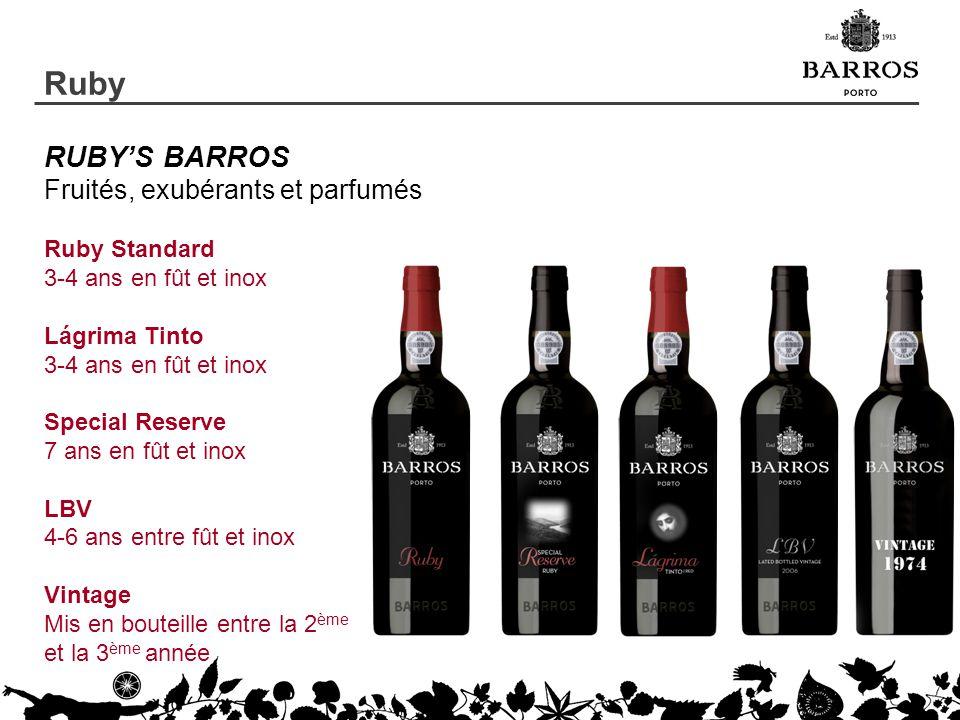 RUBYS BARROS Fruités, exubérants et parfumés Ruby Standard 3-4 ans en fût et inox Lágrima Tinto 3-4 ans en fût et inox Special Reserve 7 ans en fût et