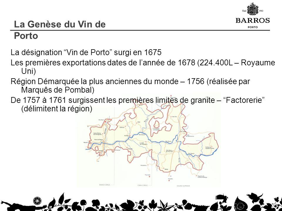 La désignation Vin de Porto surgi en 1675 Les premières exportations dates de lannée de 1678 (224.400L – Royaume Uni) Région Démarquée la plus ancienn