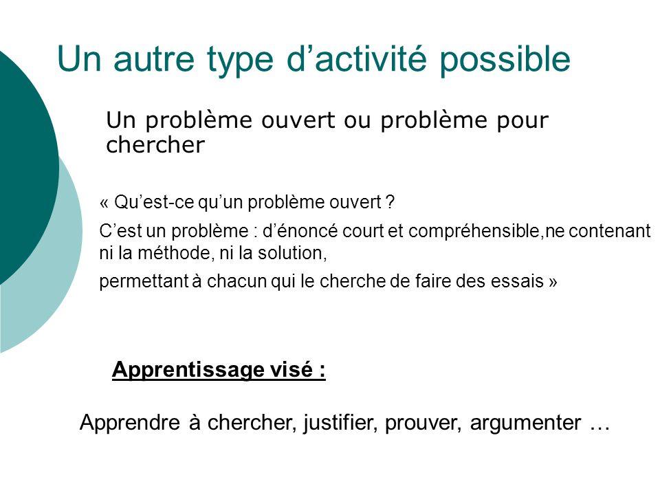 Un autre type dactivité possible Un problème ouvert ou problème pour chercher Apprentissage visé : Apprendre à chercher, justifier, prouver, argumente