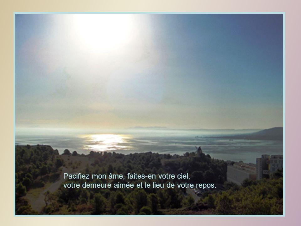 Pacifiez mon âme, faites-en votre ciel, votre demeure aimée et le lieu de votre repos.