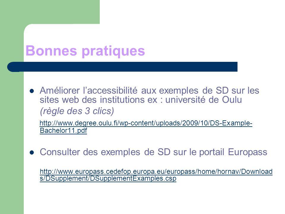 Bonnes pratiques Améliorer laccessibilité aux exemples de SD sur les sites web des institutions ex : université de Oulu (règle des 3 clics) http://www.degree.oulu.fi/wp-content/uploads/2009/10/DS-Example- Bachelor11.pdf http://www.degree.oulu.fi/wp-content/uploads/2009/10/DS-Example- Bachelor11.pdf Consulter des exemples de SD sur le portail Europass http://www.europass.cedefop.europa.eu/europass/home/hornav/Download s/DSupplement/DSupplementExamples.csp http://www.europass.cedefop.europa.eu/europass/home/hornav/Download s/DSupplement/DSupplementExamples.csp