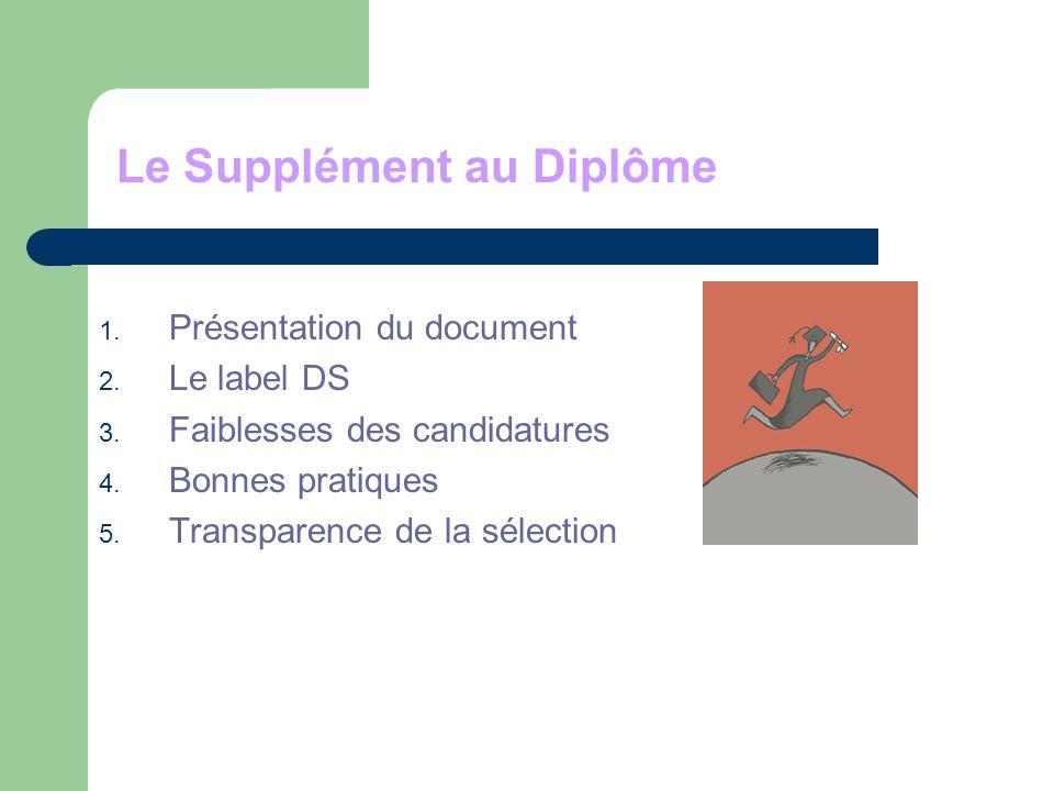 1.Présentation du document 2. Le label DS 3. Faiblesses des candidatures 4.