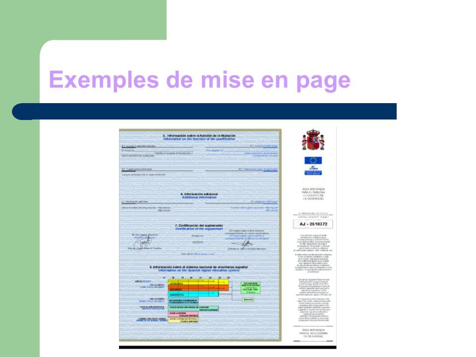 Exemples de mise en page