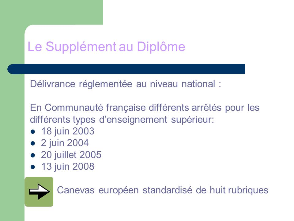 Bonnes pratiques Pour la CF voir le site de lULG : http://www.ulg.ac.be/cms/c_418061/le-diplome-bologne http://www.ulg.ac.be/cms/c_418061/le-diplome-bologne Study on the Diploma Supplement as seen by its users (ENIC-NARIC (European Network of Information Centres –National Academic Recognition Information Centres) and ENQA (European Association for Quality Assurance in Higher Education) www.aef-europe.be/index.php?Rub=bologne&page=263