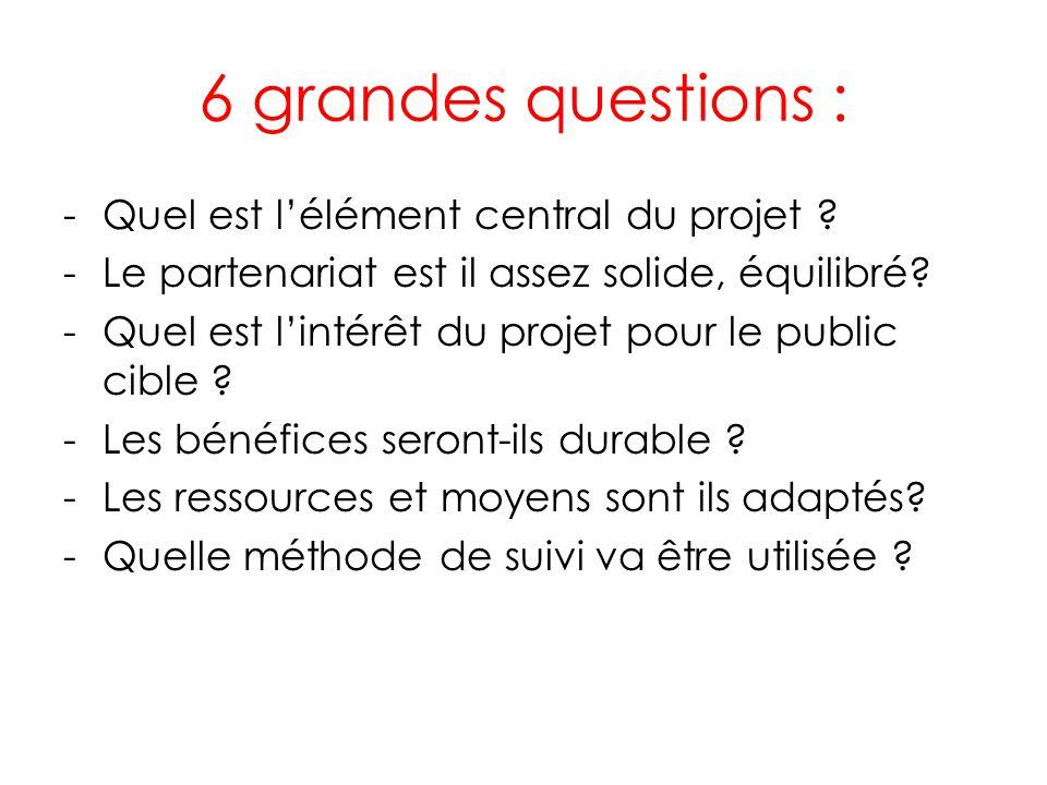 6 grandes questions : -Quel est lélément central du projet .