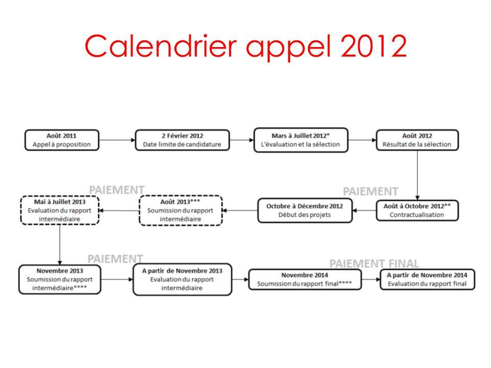Calendrier appel 2012