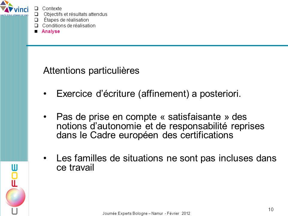 Journée Experts Bologne – Namur - Février 2012 Attentions particulières Exercice décriture (affinement) a posteriori. Pas de prise en compte « satisfa
