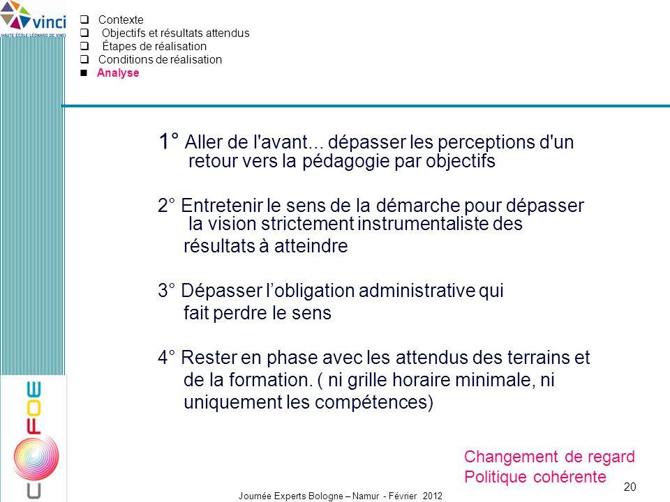 Journée Experts Bologne – Namur - Février 2012 1° Aller de l'avant... dépasser les perceptions d'un retour vers la pédagogie par objectifs 2° Entreten