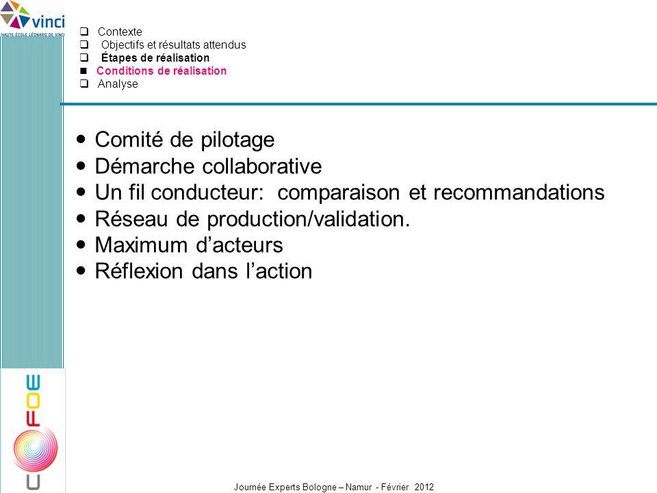 Journée Experts Bologne – Namur - Février 2012 Comité de pilotage Démarche collaborative Un fil conducteur: comparaison et recommandations Réseau de p