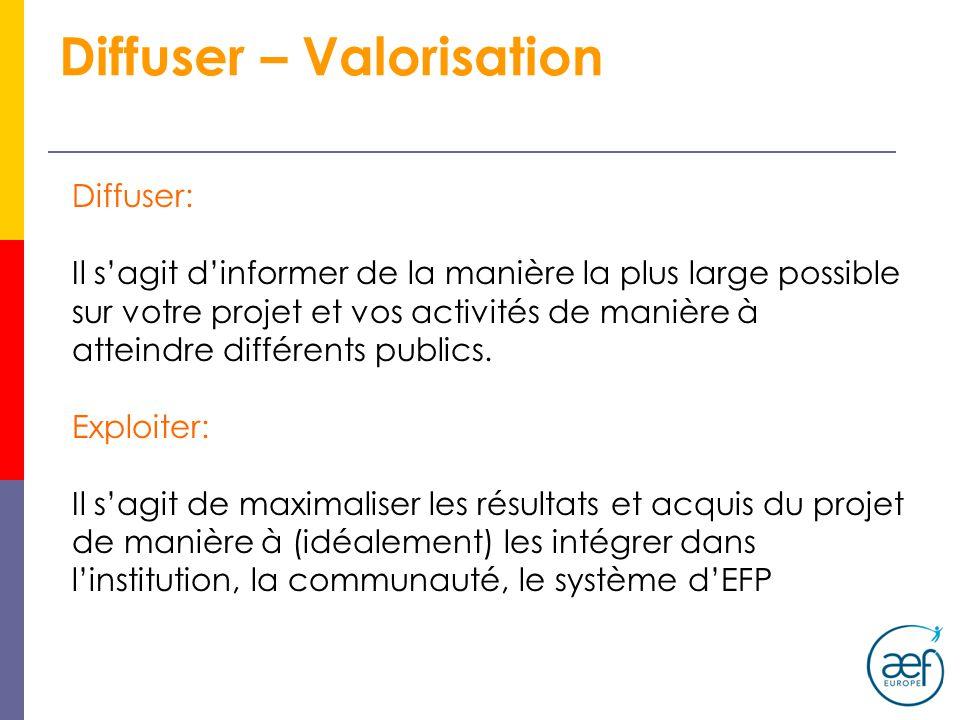Diffuser – Valorisation Diffuser: Il sagit dinformer de la manière la plus large possible sur votre projet et vos activités de manière à atteindre différents publics.
