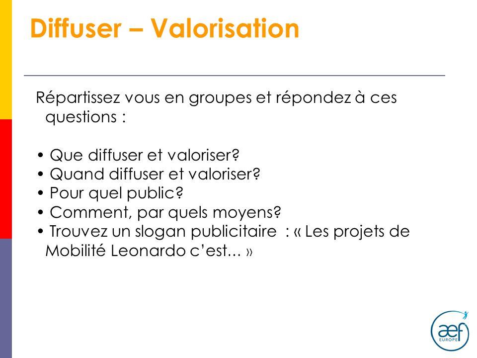 Diffuser – Valorisation Répartissez vous en groupes et répondez à ces questions : Que diffuser et valoriser? Quand diffuser et valoriser? Pour quel pu