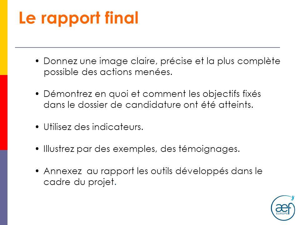 Le rapport final Donnez une image claire, précise et la plus complète possible des actions menées.
