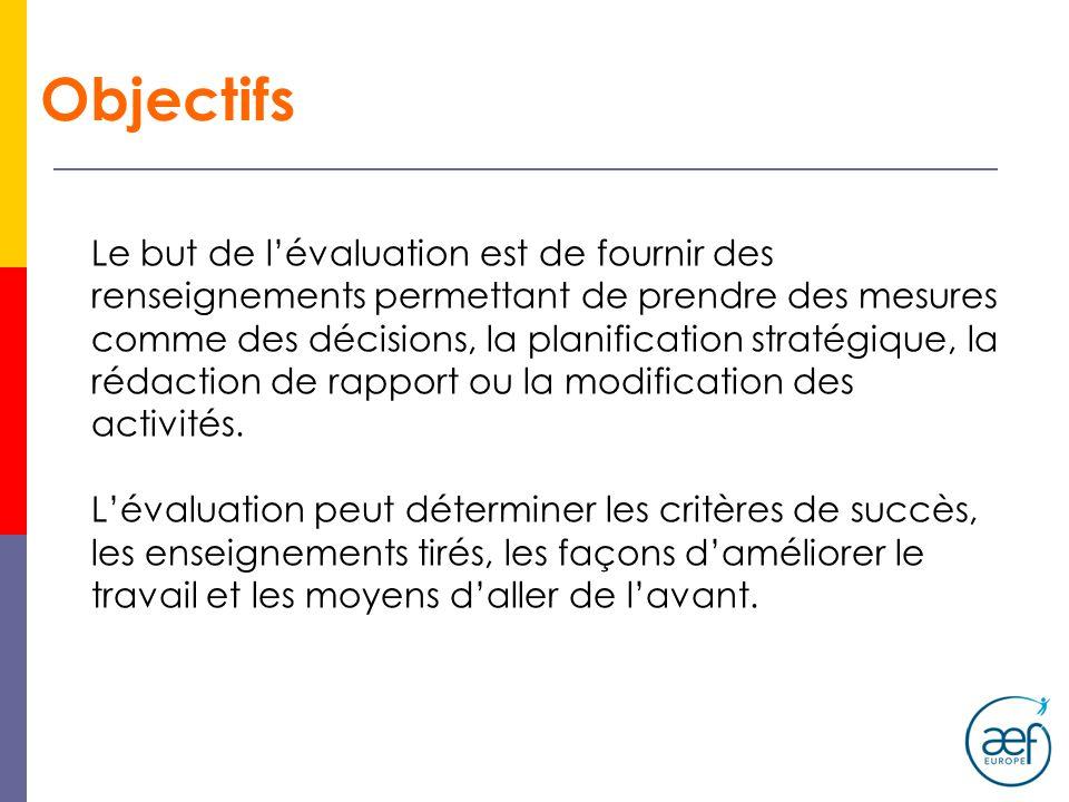 Objectifs Le but de lévaluation est de fournir des renseignements permettant de prendre des mesures comme des décisions, la planification stratégique,