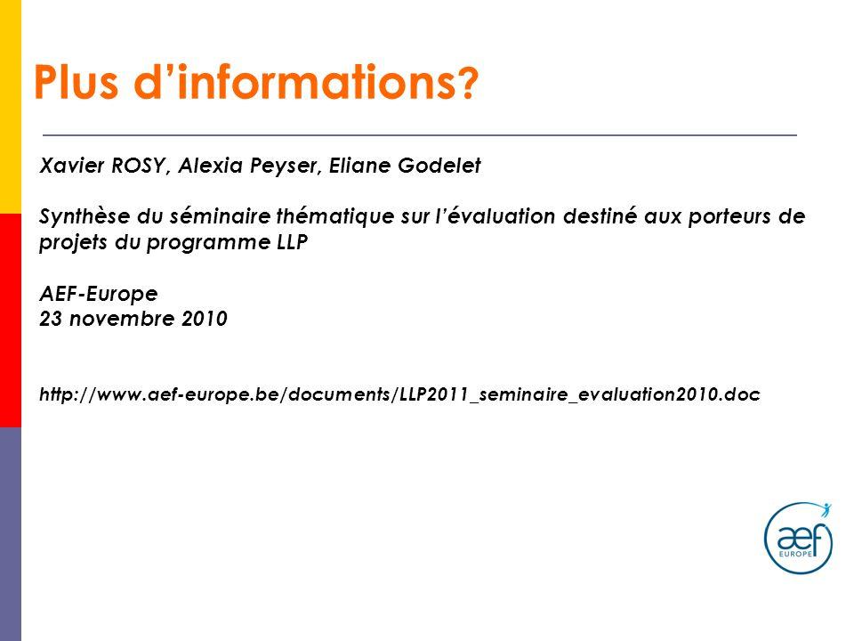 Plus dinformations ? Xavier ROSY, Alexia Peyser, Eliane Godelet Synthèse du séminaire thématique sur lévaluation destiné aux porteurs de projets du pr