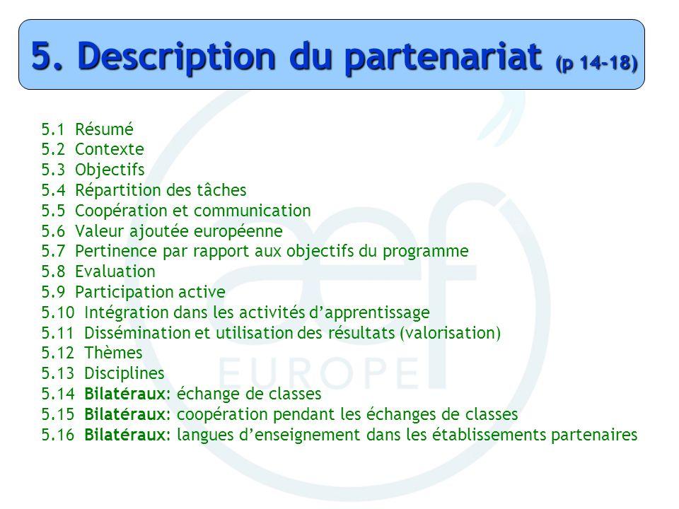 5.1 Résumé 5.2 Contexte 5.3 Objectifs 5.4 Répartition des tâches 5.5 Coopération et communication 5.6 Valeur ajoutée européenne 5.7 Pertinence par rap
